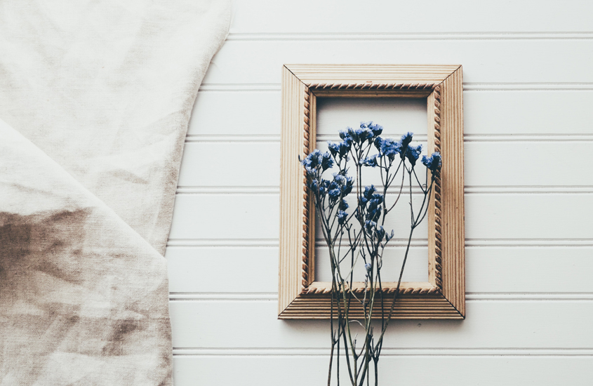 Dried Flowers Frames in a wooden frame
