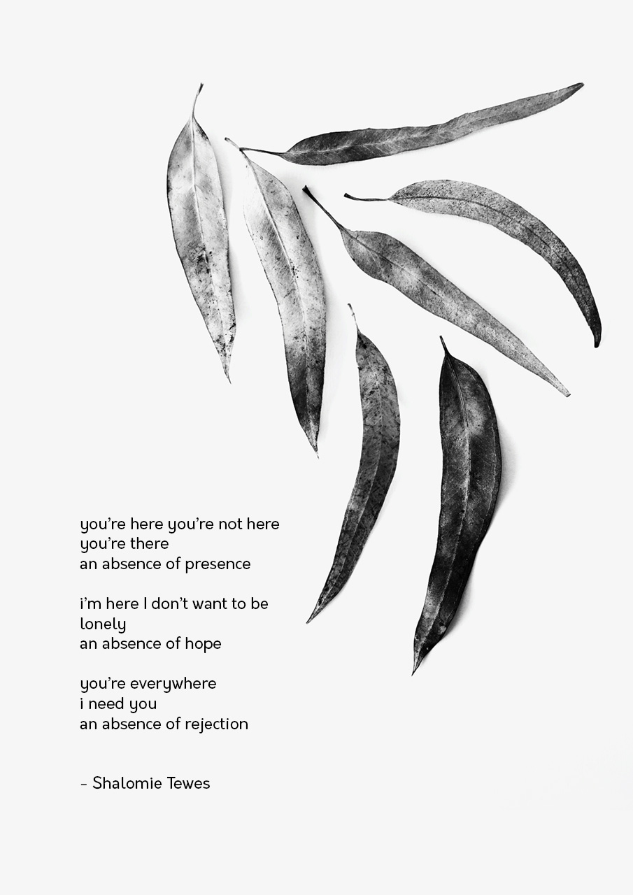 a poem next to eucalyptus leaves