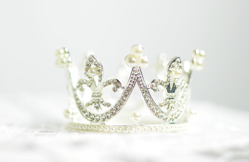 crystal crown on white background