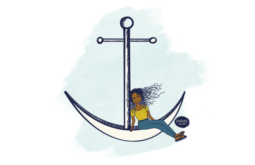 girl resting on an anchor with text below