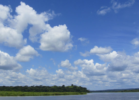 image of blue sky with clouds and a waterway